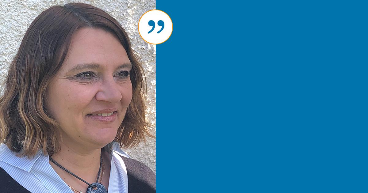 Photo portrait de Isabelle Taillefer qui temoigne sur le bilan de competences de BGE Sud-Ouest
